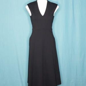 Nordstrom Halogen Black Midi Dress size 2